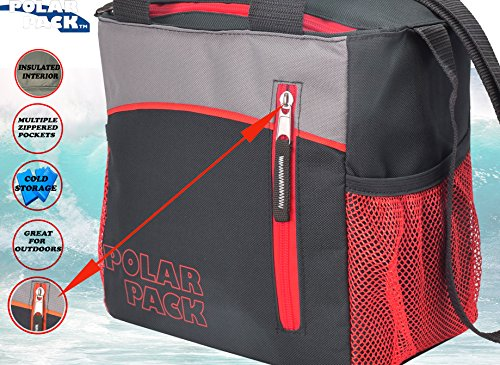Black Red Gray Notebook Case - POLAR PACK 14 Can Double Handle Grab & Go Soft Insulated Cooler Bag Zipper Pockets Insulated Picnic Bag Outdoor Indoor Travel Lunch Bag for Sports Home Travel & Camping (BLACK/GREY/RED)