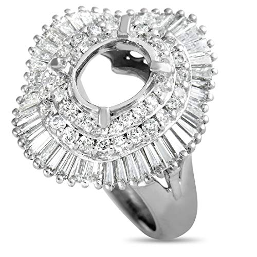 Luxury Bazaar Platinum and Round and Baguette Diamond Mounting Ring