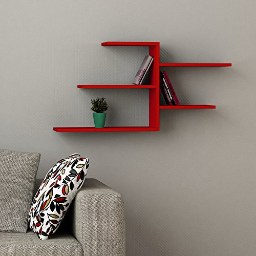 "Review Faba Wall Shelf Red h:21.1"" w:42.1"" d:8.6"" By DECORTIE by DECORTIE"