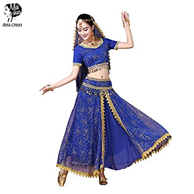 Belly Dance Costume Bollywood Dress - Chiffon Indian Dance Outfit Halloween Costumes with Head Veil for Women/Girls