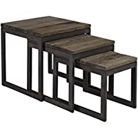 Modway Covert Wood Top Nesting Table, Brown