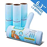 FOCUSPET Pet Hair Remover Rollers, Supersize 6.3 inches Lint Roller Pet Hair Remover for Furniture, Clothes, Laundry Extra Sticky Lint Removal Total 240 Sheets (1 Lint Roller + 3 Refills)