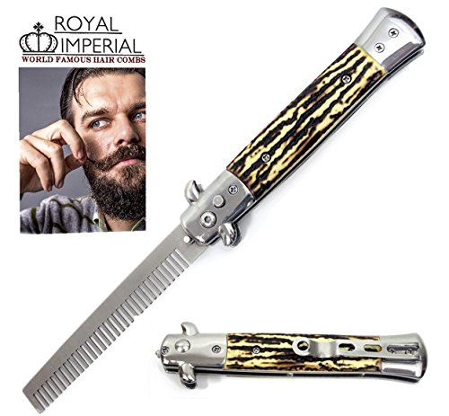 Royal Imperial Metal Switchblade Pocket Folding Flick Hair Comb For Beard, Mustache, Head SIMULATED STAG Handle ~ INCLUDES Beard Fact Wallet Book ~ Nicer Than Butterfly Knife Trainer -