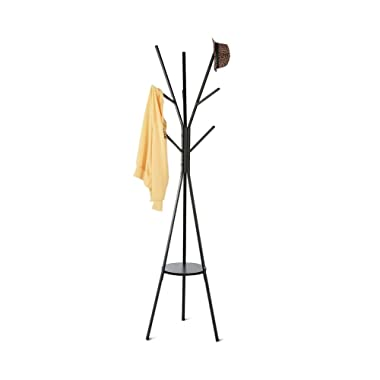 HOME BI Coat Rack Stand, Coat Hanger 9 Hooks Holding Jacket, Hat, Purse in Black