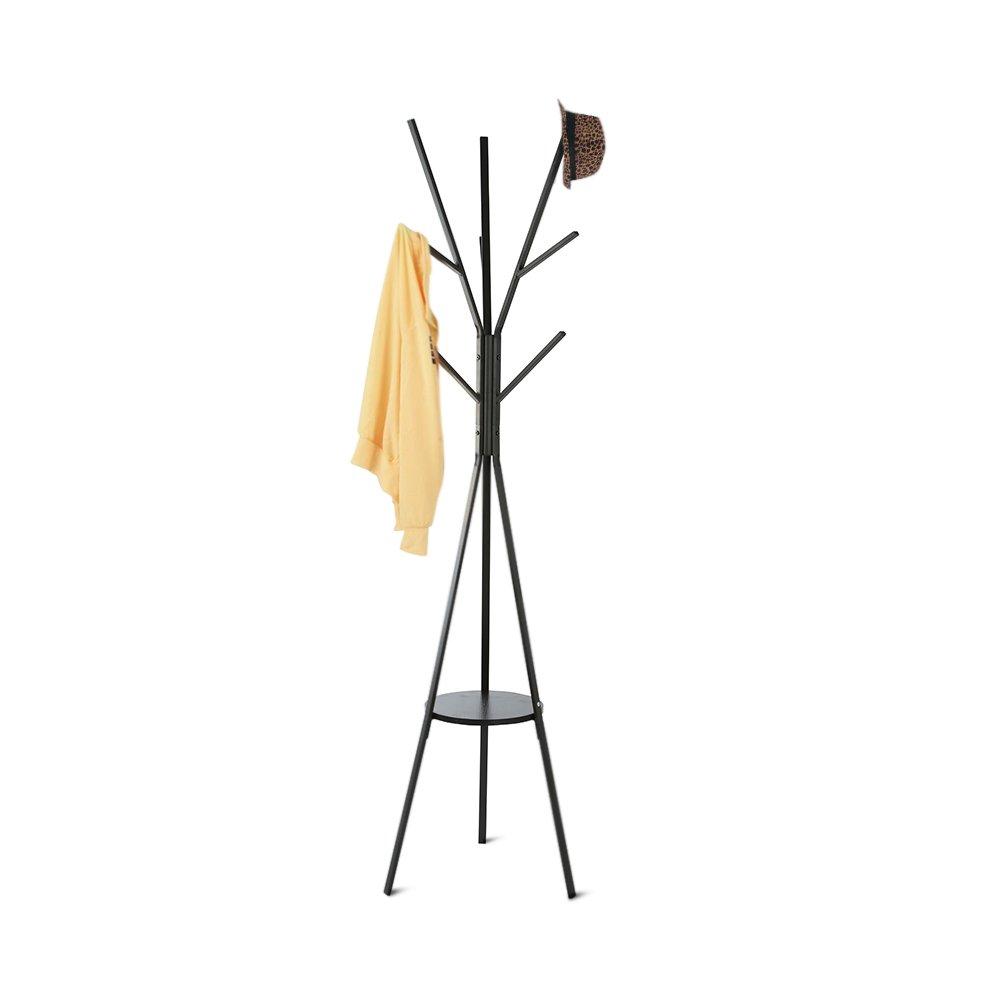 HOME BI Coat Rack Stand, Coat Hanger with 9 Hooks for Holding Jacket, Hat, Purse (Black)