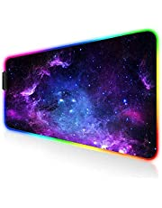 GALAXY RGB Gaming Mouse Pad 80x30cm For Keyboard and Mouse Extended Stitched Edges - 12 Lighting Modes - Braided Cable - Waterproof - Anti-Slip Rubber Base