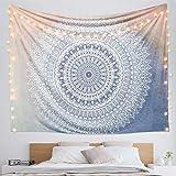 Dremisland Indian Tapestry Hippie Bohemian Grey Mandala Flower Tapestry Wall Hanging Bedding Tapestry (Grey Flower, L:80'X60')