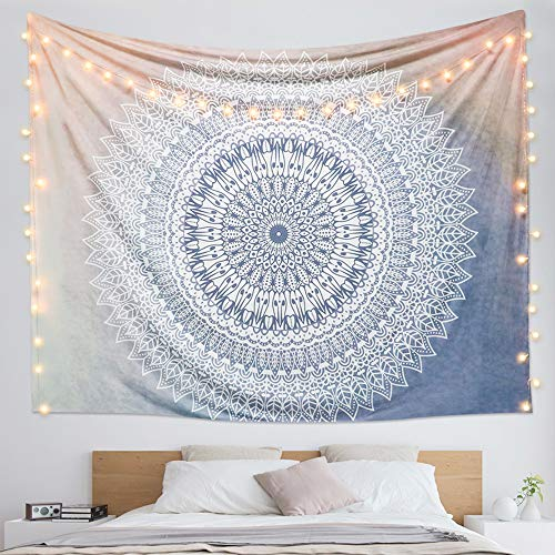 "Dremisland Indian Tapestry Hippie Bohemian Grey Mandala Flower Tapestry Wall Hanging Bedding Tapestry (Grey Flower, L:80""X60"")"
