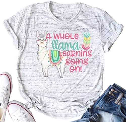 - A Whole Llama Learning Going On Teacher Shirt Women Cute Llama Branch Graphic Tshirt Casual Letters Print Llama Classroom Teacher Tees Tops (X-Large, Grey)