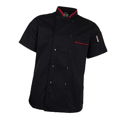 Noirrougeblanc Professionnel Uniforme P Cuisine De Courtes M Manches Prettyia Col Vêtement 3xl Femmes Hommes Veste Chef TZwPiulOkX