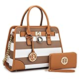 MMK collection Fashion Bamboo handle Handbag with Free wallet set for Women~Signature fashion Designer Purse~ Beautiful Designer Purse & Women Satchel Purse (2022/168) (02-6892W-COFFEE/WHITE)