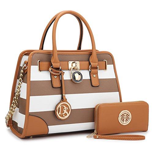 Leather Kelly Purse Handbag (MMK collection Fashion Bamboo handle Handbag with Free wallet set for Women~Signature fashion Designer Purse~ Beautiful Designer Purse & Women Satchel Purse (2022/168) (02-6892W-COFFEE/WHITE))