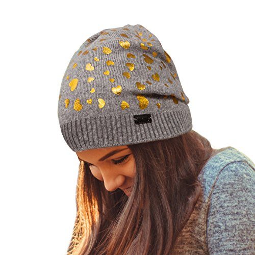 Print Winter Beanie - LADYBRO Wool Knit Hat Slouchy Beanie for Women Winter Skull Caps with Print Soft Warm (Grey-Golden Heart)