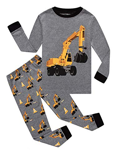 Family Feeling Excavator Little Boys Long Sleeve Pajamas Sets 100% Cotton Pyjamas Toddler Kids Pjs Size 4T - Set Pajamas 4 Boys Size