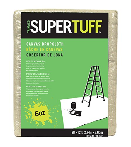 Trimaco SuperTuff 6 oz Thick Utility Weight Canvas Drop Cloth, 9-feet x 12-feet