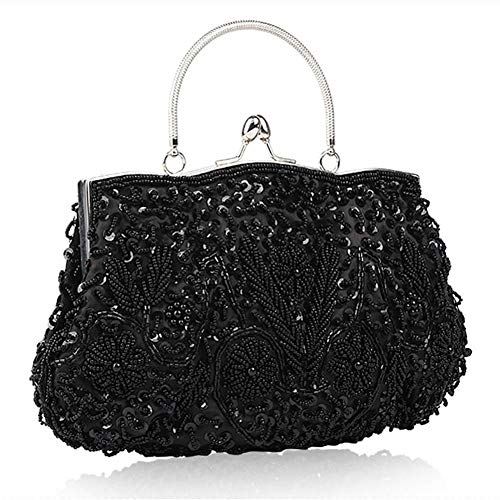 Beaded Bag Sequined Clutch Bag Evening Prom for Evening Bag Evening 1920s Embroidered Party Women's Purse Black Wedding Vintage Handmade 7AwYnqf