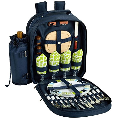 Picnic at Ascot - Deluxe Equipped 4 Person Picnic Backpack with Cooler & Insulated Wine Holder - Trellis Green by Picnic at Ascot