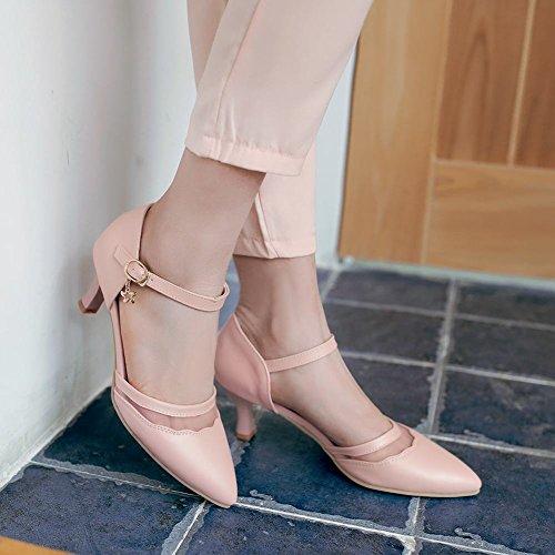 Carolbar Kvinna Spetsig Tå Parti Elegans Sexig Voile Mesh Stilett Mid Häl Klänning Sandaler Skor Rosa