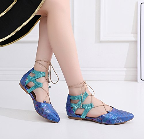 Cut Wedding Lace Prom Sole Flats Snakeskin Toe Flats Ballroom Blue Women's Leather up Latin Out Shoes MGM Pointed Joymod Party Jazz Pumps Rubber Dancing wFWUqHPcxE