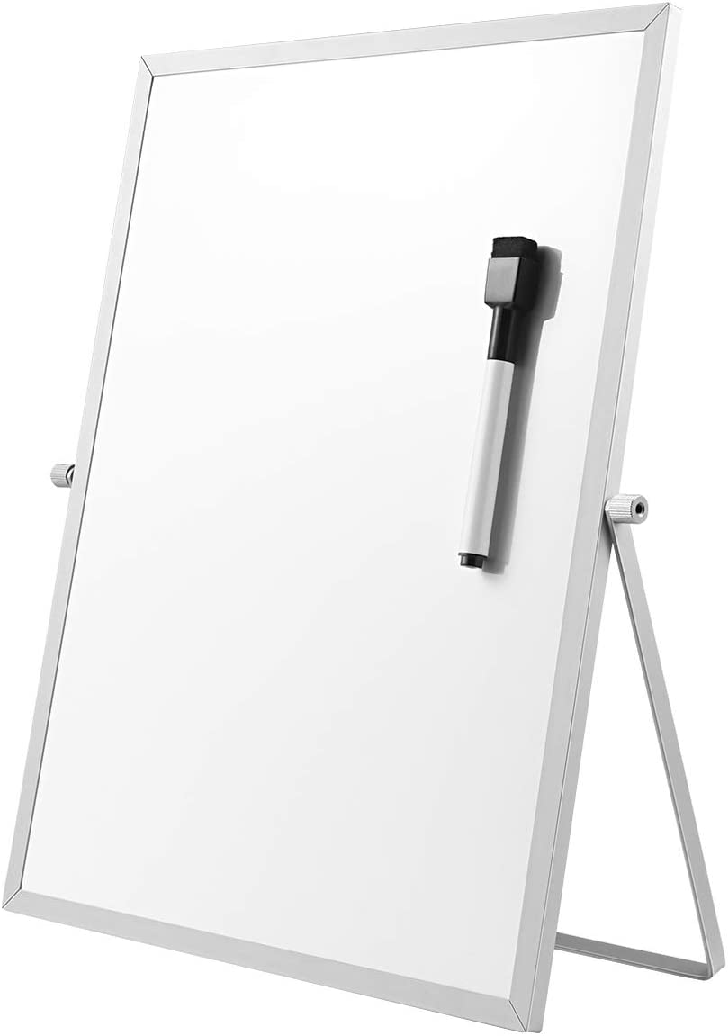 STOBOK Dry Erase Magnetic Board   14 x 11 inch Portable Double Sided Whiteboard Desktop Stand with Marker,360 Degree Rotatable Bracket,To Do Reminder for Kids Drawing,Office School Home