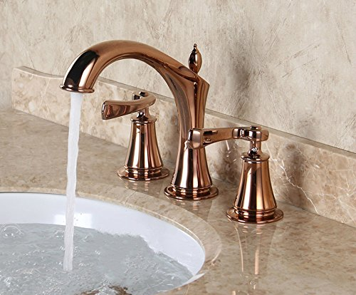 WINZSC Kitchen faucet pink gold three hole faucet basin three piece European style double handle three holes eight inches LU5145