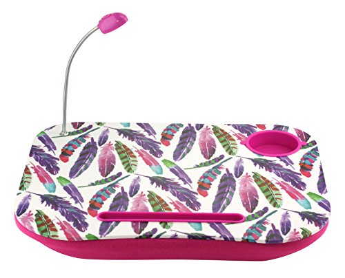 Feather Portable Laptop Tablet Notebook Computer Lap Desk with Cup Holder Light Cushion Pillow Best Unique Gift for Girls Boys Teens Kids Adults with ...