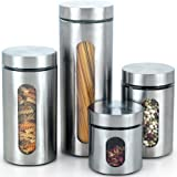 Cook N Home Glass Canister with Stainless Window Set, 4-Piece
