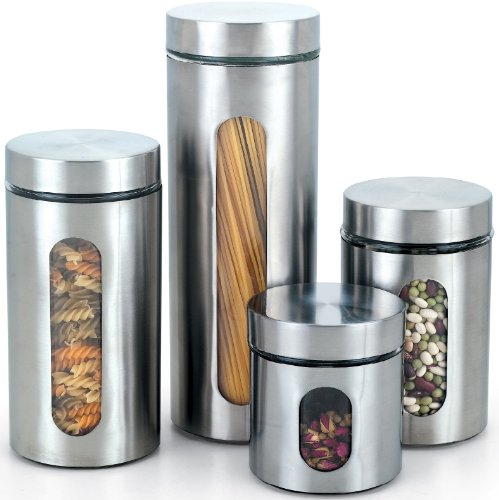 Cook N Home Glass Canister with Stainless Window Set, 4-Piece by Cook N Home