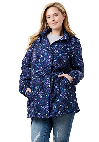 - Woman Within Plus Size Fleece-Lined Taslon Anorak - Navy Floral, 2X