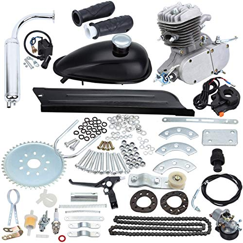 Sange 2 Stroke Pedal Cycle Petrol Gas Motor Conversion Kit Air Cooling Motorized Engine Kit for Motorized Bike (80cc - Kits Engine Conversion