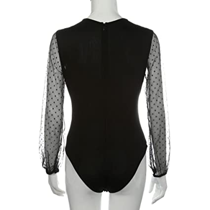 b2e2b07e25d9 Amazon.com  Sunward Women s Sexy Lace Dot Patchwork Long Sleeve Romper  Jumpsuit Playsuit  Clothing