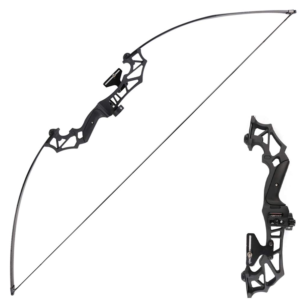 TOPARCHERY Archery Takedown Recurve Bow Hunting Long Bow Set Alloy Riser - Right Hand Black - Draw Weight 30lbs 40lbs - with Arrow Sight, Arrow Brush (Black, 30lbs)