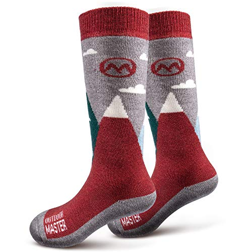 OutdoorMaster Kids Ski Socks - Merino Wool Blend, OTC Design w/Non-Slip Cuff