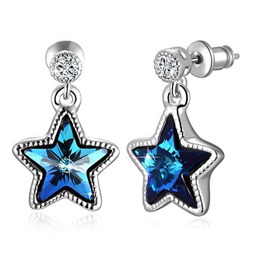 Blue Pentagram Crystal Earrings Ocean Blue Cute Stars Drop Earrings with Swarovski Crystals, Blue Five-pointed Star Fashion Drop Earring for Women/Girls
