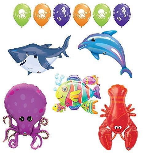 ULTIMATE SEA ANIMALS BIRTHDAY PARTY UNDER THE SEA CREATURES BALLOON DECORATIONS by Mayflower Products