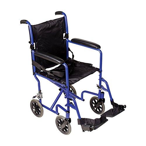DMI Lightweight Folding Transport Chair Travel Wheelchair, Royal Blue