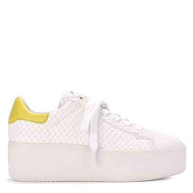 7a00d599713ecb CULT Sneaker White Ash Python Leder Look