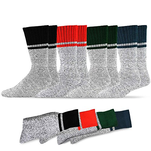(Soxnet Eco Friendly Heavy Weight Recyled Cotton Thermals Boot Socks 4 Pairs (9-11, Colorblock))