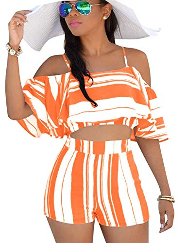 Womens 2 Piece Summer Outfits Boho Striped Print Crop Cami Top with Shorts Set (Large, Orange)