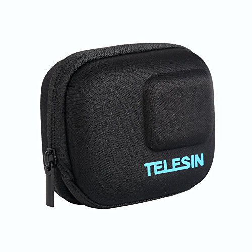 TELESIN Small Carry Case Protective Travel Bag for GoPro Hero (2018) Hero 7 Hero 6 Hero 5 and DJI Osmo Action Camera, Fits with Selfie Stick Pole Monopod Accessories