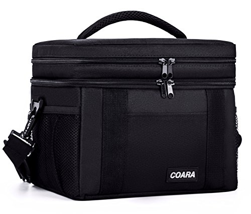 COARA Insulated Lunch Bag, Reusable Lunch Tote Bag, Lunch Cooler Bag with Detachable Shoulder Strap and Soft Handle, Black