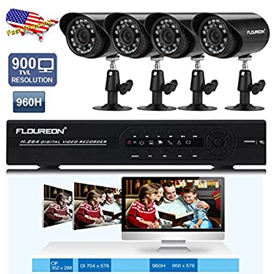 FLOUREON 1X 8CH Channel 960H CCTV DVR Onvif 1080P NVR Recorder + Waterproof 4 X Indoor/Outdoor 1200TVL IR-CUT Home Surveillance Security Cameras System View by Mobile Smart Phone