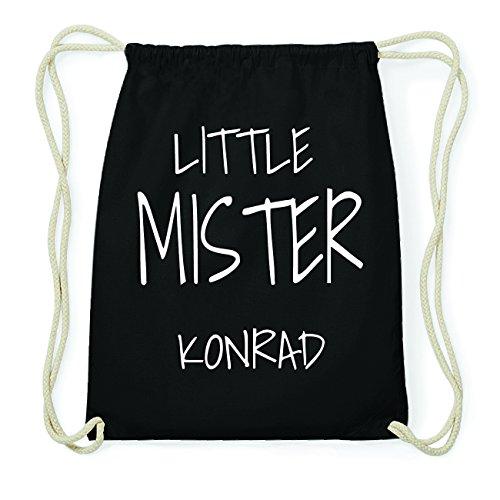 JOllify KONRAD Hipster Turnbeutel Tasche Rucksack aus Baumwolle - Farbe: schwarz Design: Little Mister pkFRFVXbMD