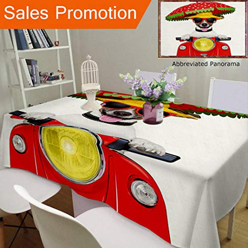 Unique Design Cotton and Linen Blend Tablecloth Animal Dog with A Hat and Sunglasses Driving Motorcycle Under an Umbrella Funny Holiday Image RCustom Tablecovers for Rectangle Tables, 60 x 40 ()