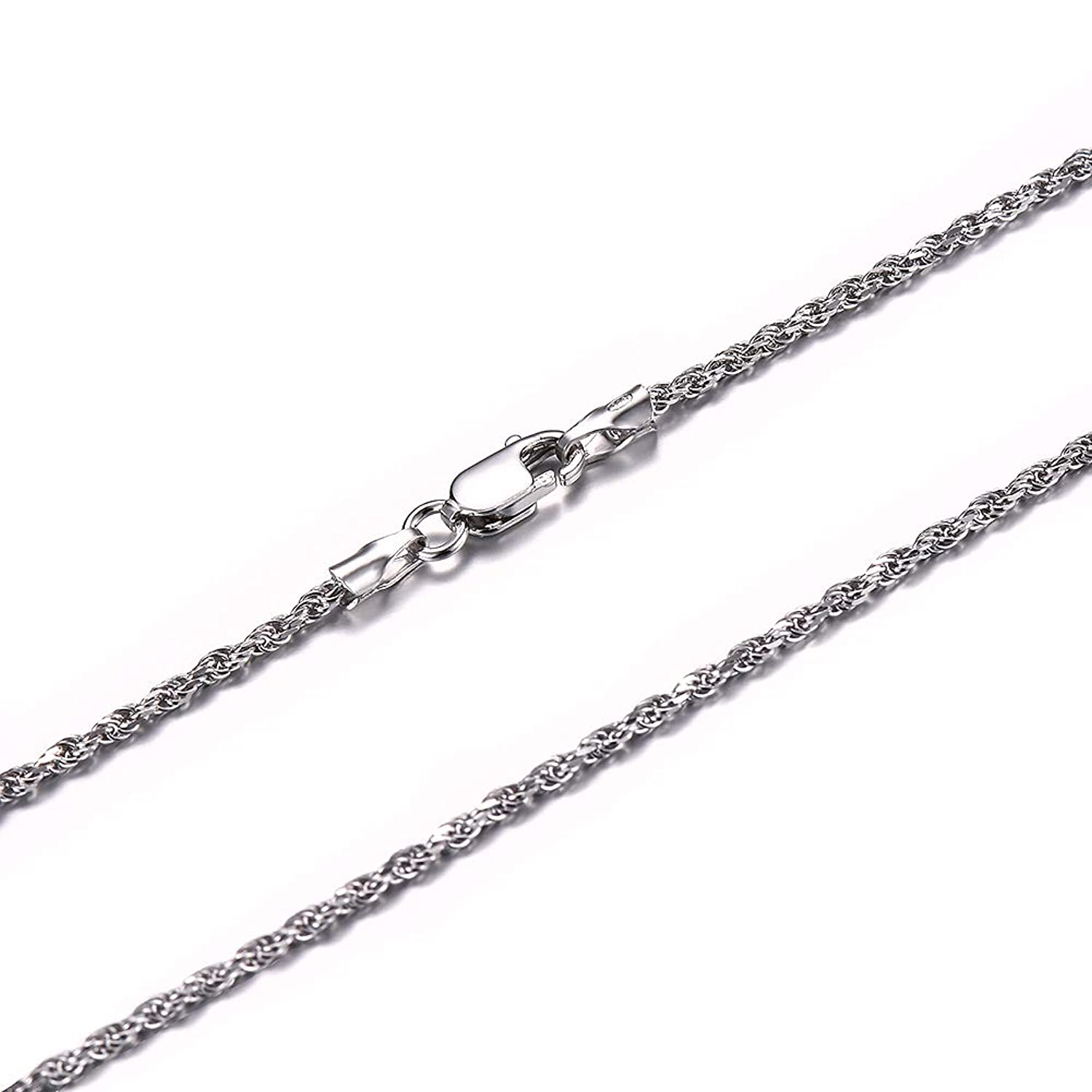 Solid 925 Sterling Silver 1.7mm Italian Diamond Cut Twisted Rope Chain Necklace