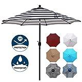 Blissun 9' Outdoor Aluminum Patio Umbrella, Market Striped Umbrella with Push Button Tilt and Crank (Black & White Stripe)