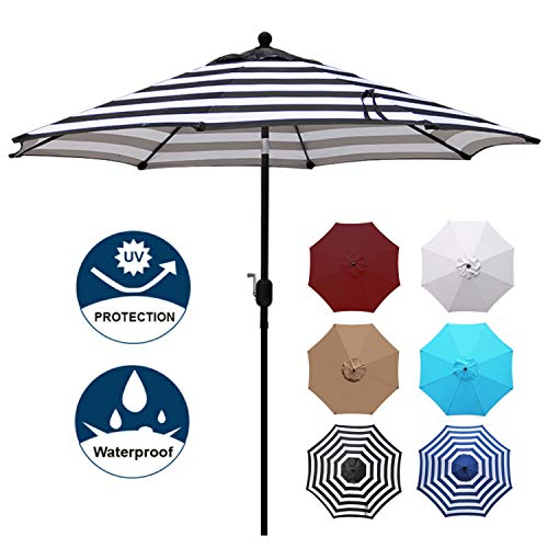 Blissun 9' Outdoor Aluminum Patio Umbrella, Market Striped Umbrella with Push Button Tilt and Crank (Black & White - Outdoor Umbrella