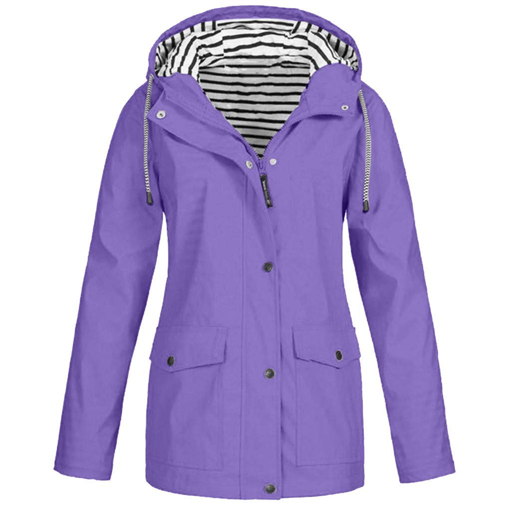 Pandaie Women Softshell Jacket Hooded Rain Jacket Waterproof Windproof Outdoor Windbreaker Raincoat Parka Long Purple by Pandaie