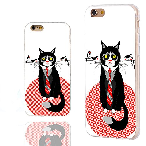 CHICHIC iPhone 6s Case,iPhone 6 Case,Case for iPhone 6 6s 4.7 Inch, [Cute Series] Full Protective Slim Flexible Durable Soft TPU Cases,Cute Cartoon Animal Black cat tie with Birds on his Moustache]()