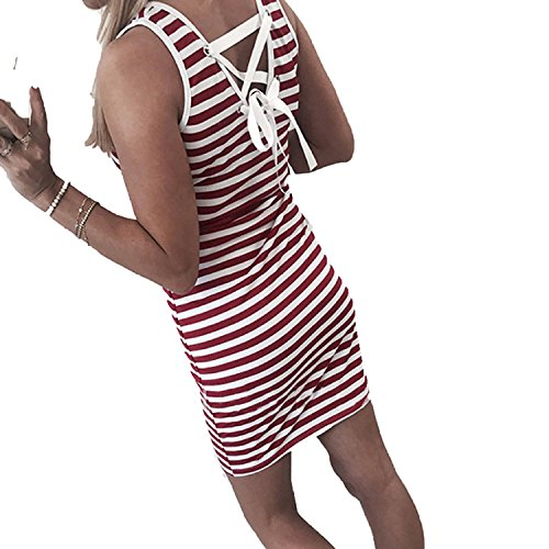 Lovely-Shop Sexy Package Hip Mini Dresses Striped Women Dress Backless Sheath Lace up Sundress Plus Size,Red ()